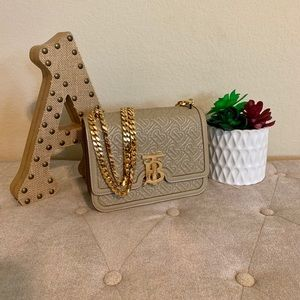 Small TB Monogram Quilted Leather Shoulder Bag